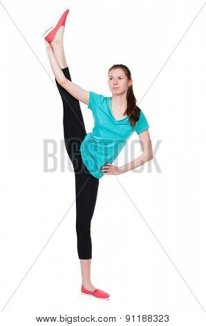 back view standing young beautiful woman in sportswear involved in Pilates. Rear view people collection. backside view person. Isolated over white background. girl stands with his legs above his head