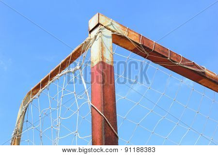 Futsal Goal Post On The Blue Sky Background