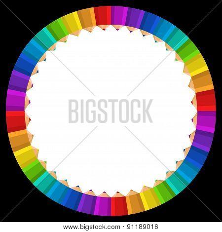 colorful rainbow pencil frame vector
