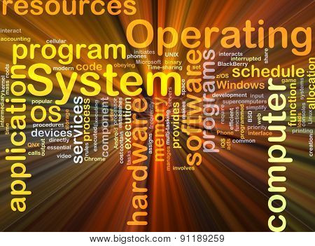 Background concept wordcloud illustration of operating system OS glowing light
