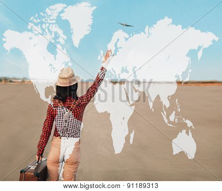 Double exposure map with female traveler