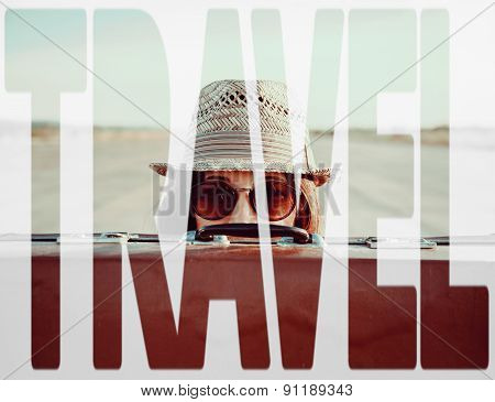 Double Exposure Word Travel With Tourist