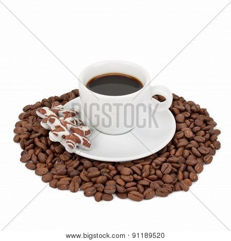 Cup With Coffee, Cookies And Coffee Beans