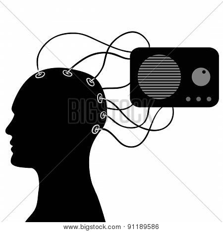 silhouette of a man's head and radio in vector on a white background