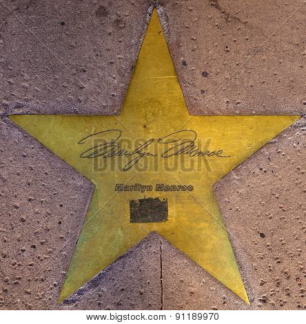 Star Of Marilyn Monroe  On Sidewalk In Phoenix, Arizona.