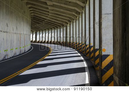 Two lane road tunnel in Taiwan