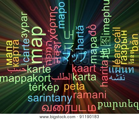 Background concept wordcloud multilanguage international many language illustration of map glowing light