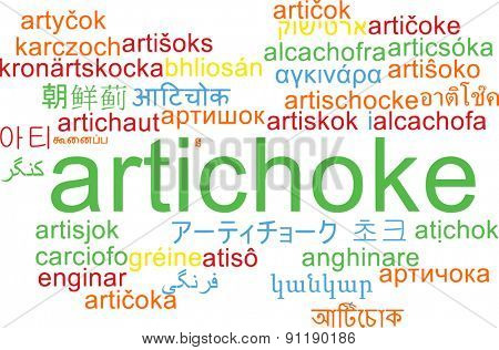 Background concept wordcloud multilanguage international many language illustration of artichoke