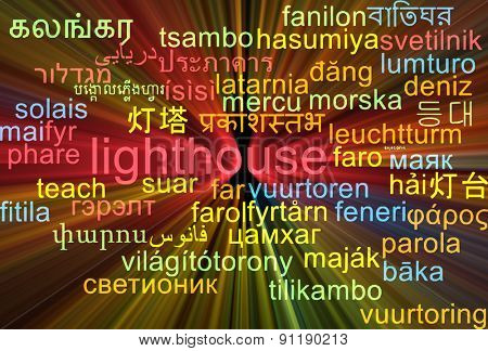 Background concept wordcloud multilanguage international many language illustration of lighthouse glowing light