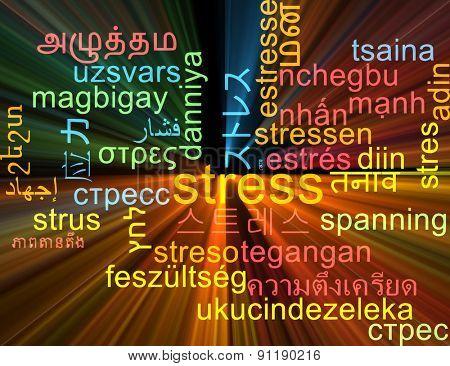 Background concept wordcloud multilanguage international many language illustration of stress glowing light