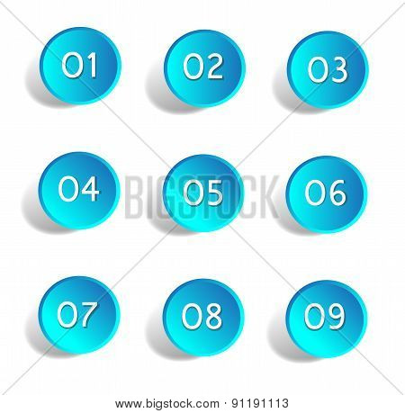 Numbers Set Buttons blue