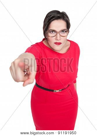 Beautiful Plus Size Woman In Glasses Pointing Finger At You