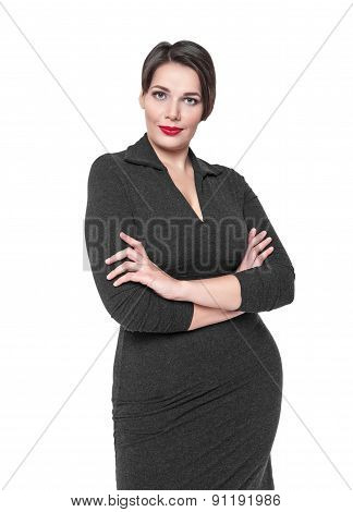 Beautiful Plus Size Woman In Black Dress Posing