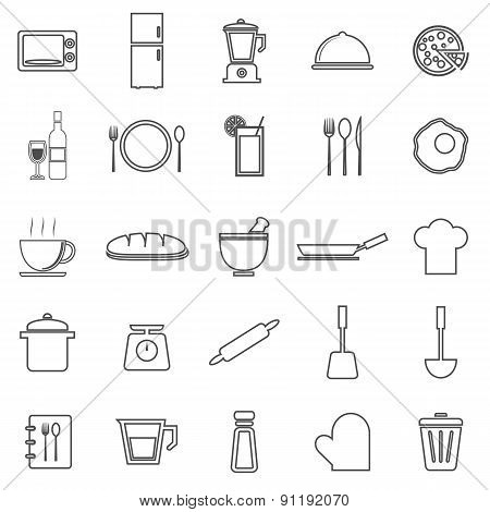 Kitchen Line Icons On White Background