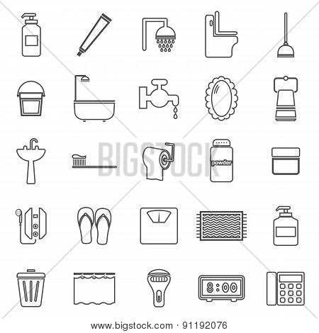 Bathroom Line Icons On White Background