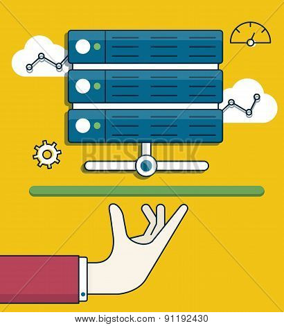 Vector Flat Linear Illustration Of Data Processing. Server And Service