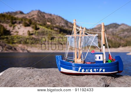 Blue Fishing Boat Figurine