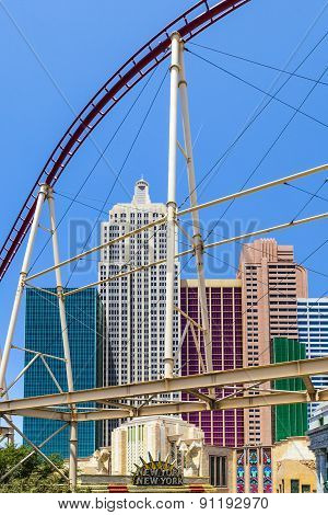 New York-new York Resorts In Las Vegas With Roller Coaster.