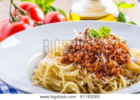 Spaghetti. Italian and Mediterranean cuisine. Spaghetti bolognese with cherry tomato and basil.