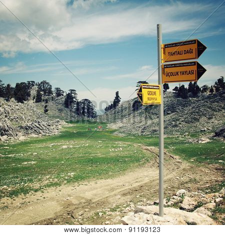 GEDELME-TAHTALI DAGI, TURKEY - MAY 4, 2015: Sign on the Lycian Way.