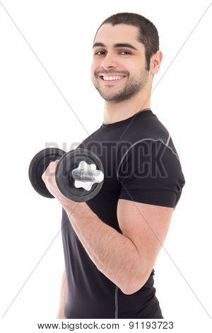 Happy Man In Sportswear Doing Exercises With Dumbbells Isolated On White