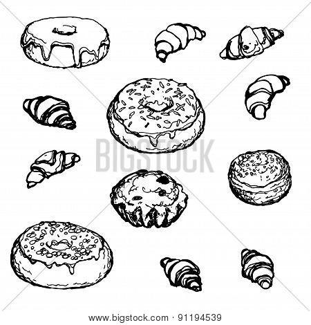 Set Hand-drawn Bakery Donut Croissant Cake