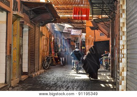 MARRAKESH, MOROCCO, APRIL 16, 2015: everyday life in souks section in medina