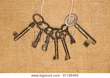 A Lot Vintage Keys From The Locks On Old Cloth
