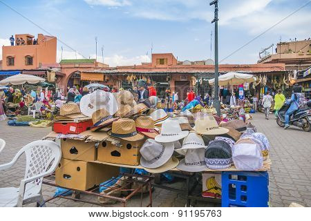 MARRAKESH, MOROCCO, APRIL 4, 2015: Display of hats to sell on street stand in souks