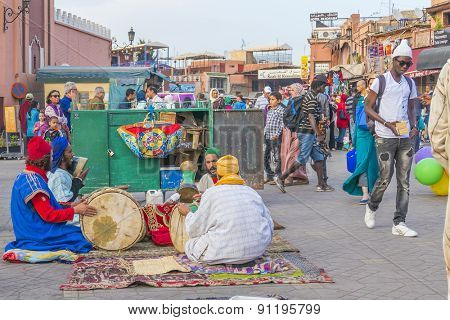 MARRAKESH, MOROCCO, APRIL 4, 2015: Local musicians in Jemaa el-Fnaa square