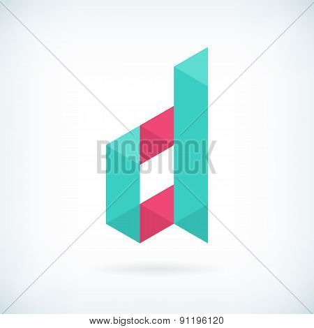 Modern Letter D Icon Flat Design Element Template