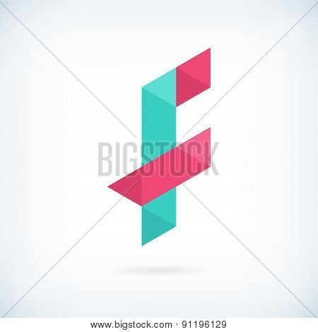Modern Letter F Icon Flat Design Element Template