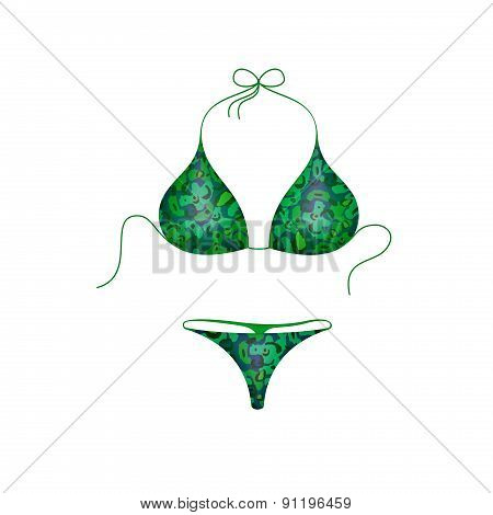 Bikini suit in green and blue military design