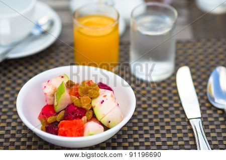 Healthy breakfast on the table closeup in outdoor cafe