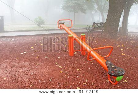 Playground In Foggy Sighnaghi, Georgia