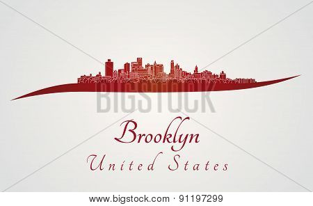 Brooklyn Skyline In Red