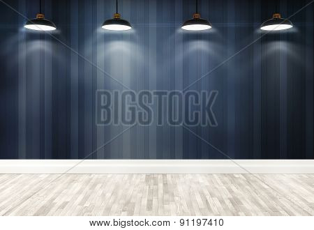 3D Stripes Wallpaper With Ceiling Lamps