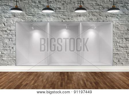 3D Empty Storefront Of Shop