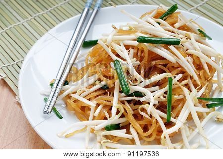 Thai Food Named Korat Noodle with Chopsticks