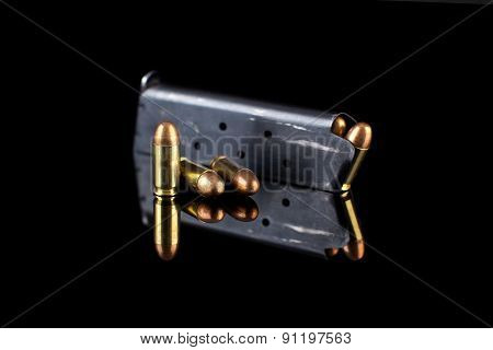pistol magazine with ammunition