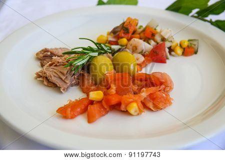 Tuna, Salmon And Shrimp Salad
