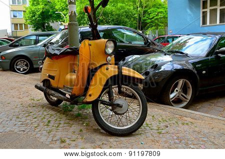 Old motorcycle in Berlin, Germany.