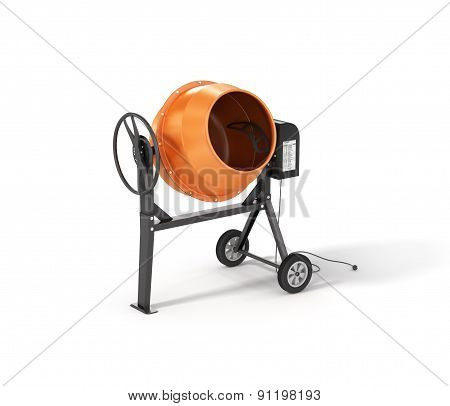 Concrete Mixer Isolated On White Background.