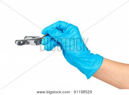 Gloved Hand Holding A Metal Impression Tray Isolated On White Background