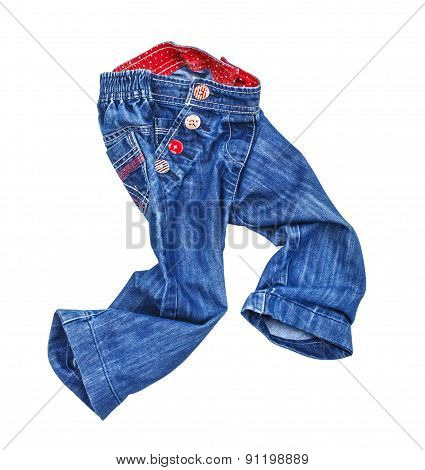 Running Children's Blue Jeans On A White Background Isolation