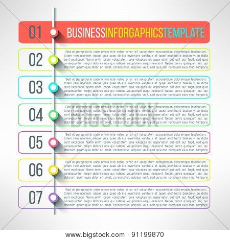 Vector business process steps infographics template. Colorful options choice, instruction or present