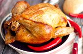 pic of roast chicken  - roasted chicken with vegetables  - JPG