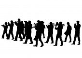 picture of wind instrument  - Men walking with a brass instrument - JPG