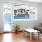 stock photo of policy  - Drone spying through window your living room - JPG