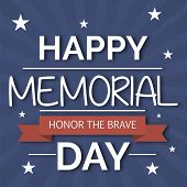 picture of happy day  - illustration for Happy Memorial Day with red ribbon - JPG
